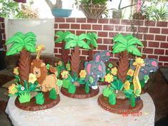 MOTIVO DE FIESTA INFANTIL SAFARI - Imagui Safari Theme Party, Safari Birthday Party, Jungle Party, Jungle Theme, First Birthday Parties, Party Themes, Baby Wild Animals, African Theme, Dinosaur Party