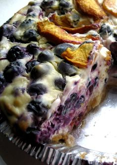 Blueberry and Peach Cheesecake