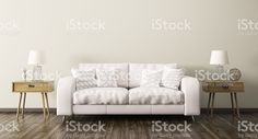 Intérieur de la salle de séjour avec canapé, rendu 3D – banque photo libre de droits