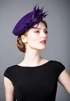 Rachel Trevor Morgan, A/W 2014.Purple fur felt beret with spot claw.