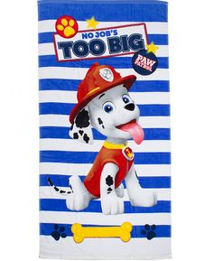 Whether you're by the beach, at the pool or using it at bath time, this fantastic Paw Patrol Pawsome Towel is the perfect way to keep yourself warm and dry. Made from 100% cotton, this large towel has a soft velour feel and features a great image of Marshall on a blue and white striped background with the words 'No Job's Too Big' across the top, perfect for any little Paw Patrol fans!