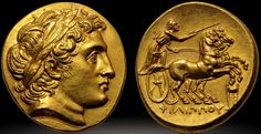 Macedonia Philip II struck under Philip III; Kolophon circa 322 BC gold Stater ancient coin with Portrait of Alexander the Great from the Colosseo Collection [2193 x 1130]