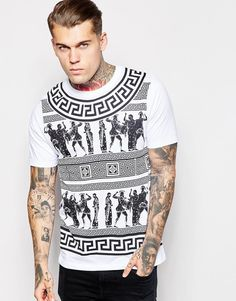 Image 1 of ASOS Longline T-Shirt With Geo-Tribal Print In Relaxed Skater Fit