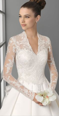 lace wedding dresses with long sleeve and beautiful flower