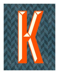 The Letter K, Original Art Print, Typography, Alphabet, Chevron, Red Orange, Charcoal
