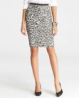 """Animal Print Jacquard Pencil Skirt - Perfectly prowly: we love the sleek-yet-untamed style of this spotted animal print style - in a wildly luxe wool blend. Hidden back zipper with hook-and-eye closure. Back vent. Lined. 24"""" from top edge."""