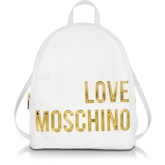 Love Moschino Handbags Eco Leather Backpack w/Signature Logo (985 RON) ❤ liked on Polyvore featuring bags, backpacks, white, white backpack, white bag, rucksack bags, love moschino and day pack backpack