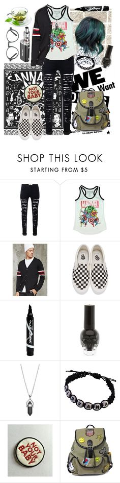 """""""Hipster"""" by xxx-marshmallow-of-death-xxx ❤ liked on Polyvore featuring Marvel, 21 Men, Vans, Maybelline, Hot Topic, Healing Stone and Like Dreams"""