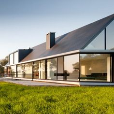 Villa Geldrop by Hofman Dujardin Architects in the Dutch countryside - Click through to the floorplan showing the subterranean bedrooms. Residential Architecture, Amazing Architecture, Contemporary Architecture, Interior Architecture, Gable Roof Design, Building A Container Home, Architecture Wallpaper, Architect Design, Exterior Design