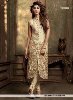 Beige Scintillating Silk Designer Salwar Suit