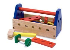 Colourful wooden tool kit for kids from Melissa & Doug. It is great for imaginative and pretend play. Quality wooden toy with kids' tools, nuts and bolts. Ri Happy, Happy Play, Melissa & Doug, Kits For Kids, Creative Play, Homemade Baby, Classic Toys, Pretend Play, Tool Set