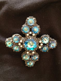 Vintage Turquoise Blue Maltese Cross Pin by mimisvintageshop, $25.00