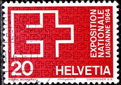Switzerland.  EXPO Emblem.  ssued to publicize the Swiss National Exhibition, Lausanne, Apr. 30-Oct. 25, 1964. Scott 431  A150, Issued  1963 Sept. 16,  Unwmk.,  Granite Paper,  Perf. 11 1/2, 20. /ldb.