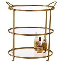 Arteriors, Connaught Antique Brass & Glass Bar Cart  $1,320. Free Shipping.