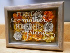 """Gorgeous 5"""" x 7"""" Barnwood Shadowbox made with hand-rolled paper roses and vinyl phrase. Price - $25 and up. Other size shadowboxes are available with your choice of flower colors and phrases. Vinyl Crafts, Vinyl Projects, Paper Crafts, Rolled Paper Flowers, Paper Roses, Flower Boxes, Flower Frame, Diy Shadow Box, Rose Crafts"""