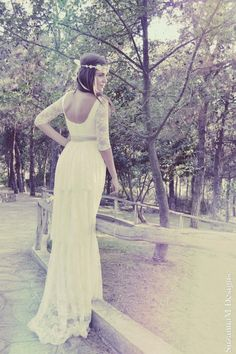 Ivory Lace Boho Wedding Dress Long Bridal di SuzannaMDesigns