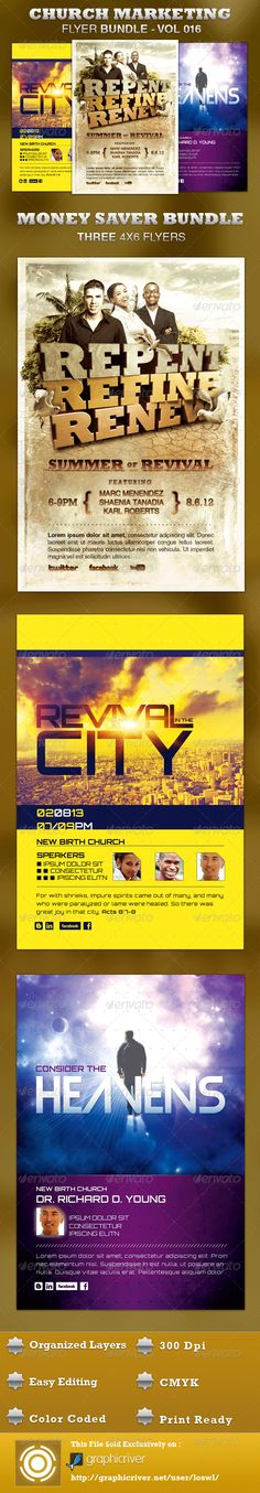The Church Marketing Flyer Bundle-Vol 016 is sold exclusively on graphicriver, it caters to any charity event, contemporary church sermon, concert, convention or any event that needs a stylistic, modern flyer. In this package you'll find 3 Photoshop files. All layers in the files are arranged, color coded and simple to edit. - $13.00