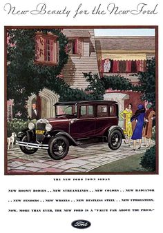Ad for the Ford Town Sedan, from the March, 1930 issue of GOOD HOUSEKEEPING.