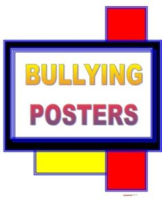 Bullying Poster Set - FREE!!!!!  Attractive posters against bullying! These posters could be used as a spring board for classroom discusses then posted on the wall.