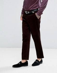 ASOS Slim Cropped Suit Pants in Chocolate Brown Chunky Cord - Red