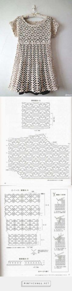 Pretty crochet lace  top with spiderweb stitch yoke and shell stitch body ~~ Kim Crinochet
