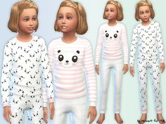 This cute panda pyjama set is just the thing to keep your little girls snug and warm all night through! Found in TSR Category 'Sims 4 Female Clothing Sets'