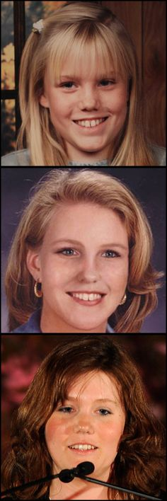 The top image shows a picture of Jaycee Dugard around the age she was kidnapped while walking to school. The middle picture, released by Natational Center for Missing and Exploited Children, shows an age-enhanced image of Jaycee created in 2006. The bottom image is a picture of Jaycee in 2012.