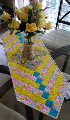 Quilted Easter Table Runner 38 1/2 x 13 1/4 by ItyBityQuilts, $20.00
