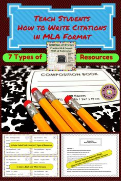 Use these task cards to give students practice writing citations for common resources often referenced when writing a bibliography. Includes a mini-poster showing the MLA format for 7 types of resources and answer keys students can use to correct their own work. All resources used for the task cards are from real print, electronic & performance sources.