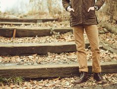 quilted jacket, beige chino, Red Wing Iron Ranger boots