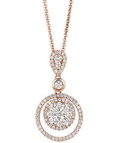 Le Vian Diamond Necklace, 14k Rose Gold Diamond Double Circle Pendant (7/8 ct. t.w.)  $3700.00
