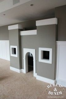 Kids Castle An Under the Stairs Playhouse Under Stairs Playhouse, Kids Indoor Playhouse, Build A Playhouse, Basement Plans, Basement Remodeling, Basement Ideas, Playroom Ideas, Kids Castle, Interior Stylist