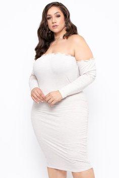 Plus Size Off The Shoulder Stripe Dress - Natural - Curvy Sense