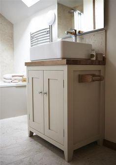 An inspirational image from Farrow and Ball. Handmade bespoke bathroom cabinet by Fernio Furniture, finished in Off-White. Bespoke Bathroom, Kitchen Cabinets In Bathroom, Bathroom Cupboards, Kitchen Design Diy, Small Bathroom Layout, Bathroom Interior, White Bathroom, Cottage Bathroom, Bathroom Shelves For Towels