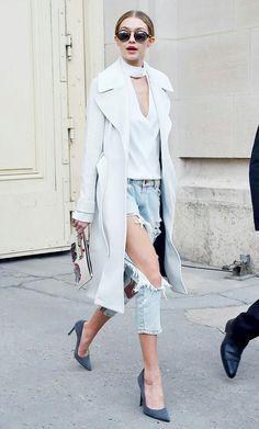 destroyed jeans + grey stiletto + clutch /Gigi Hadid