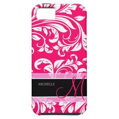 Broadway Pink and white floral damask w/ monogram iPhone 5 Cover