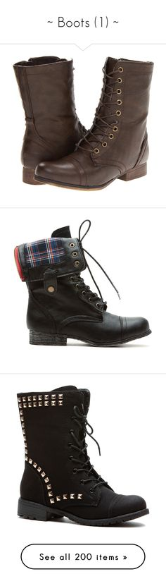 """""""~ Boots (1) ~"""" by phoenixfire4 ❤ liked on Polyvore featuring shoes, boots, ankle booties, botas, sapatos, brown, ankle boots, platform combat boots, lace up booties and lace up ankle boots"""