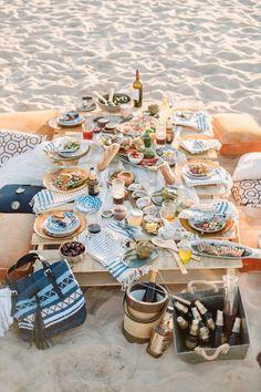 Beautiful beach picnic tablescape