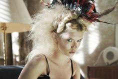 La Bohème. Hole magazine. photographer Juergen Knoth. Martina Dimitrova. vintage. inspired by puccini. underwear. headpiece. feathers.