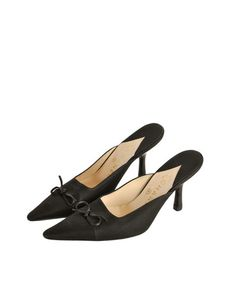 Chanel Vintage Black Pointed Toe Bow Mules - from Amarcord Vintage Fashion