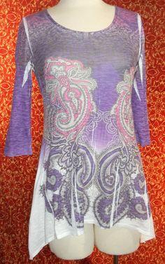 J.T.B purple paisley 3/4 sleeve tunic bohemian cotton blend blouse S (T2503E5G) #JTB #Blouse #Casual