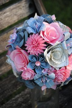 In these DIY paper flower tutorials, you will discover ways to create lovely flowers that by no means wither and … Flower Girl Wand, Flower Girl Bouquet, Flower Bouquet Wedding, Bridal Bouquets, Origami Flower Bouquet, Diy Bouquet, Paper Flower Boquet, Paper Flowers Wedding, Paper Flowers Diy