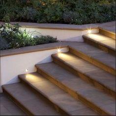 LED lighting for garden steps Outdoor Stair Lighting, Deck Stair Lights, Garden Path Lighting, Landscape Lighting, Outdoor Step Lights, Led Garden Lights, Patio Steps, Outdoor Steps, Outdoor Paving