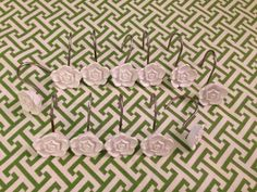 Waverly ~ White Rose Shower Curtain Hooks ~ Qty 12 ~ Floral Rosette ~ Buy Now on eBay!  White Lacquer #Waverly #rosette #showerhooks #whiteroses