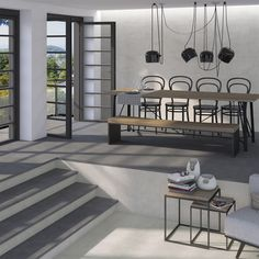 Enjoy our porcelain and ceramic tiles floors and walls in settings of bathrooms, kitchens , livingrooms and exteriors Home Living, Living Room, Style Tile, Interior Design, Interior Ideas, Tiles, Relax, Minimalist, Ceiling Lights