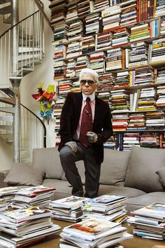 Karl Lagerfeld in his Paris atelier #library #booklover