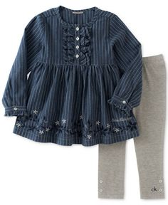Calvin Klein 2-Pc. Striped Denim Tunic & Leggings Set, Baby Girls (0-24 months)
