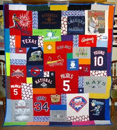 Baseball themed tshirt quilt--someday, with all those old jerseys. Baseball Quilt, Hand Sewing Projects, Sewing Crafts, Diy Projects, Jersey Quilt, Keepsake Quilting, Sewing Stitches, Craft Gifts, Crafts To Make