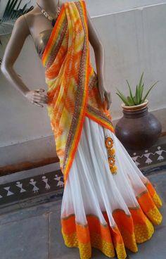 Orange and white lehenga Half Saree Lehenga, Lehnga Dress, Lehenga Blouse, Bridal Lehenga Choli, Anarkali, Half Saree Designs, Saree Blouse Neck Designs, Lehenga Designs, Blouse Designs
