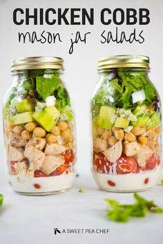 Chicken Cobb Mason Jar Salads | So much tastiness in one mason jar salad - plus a clean ranch salad dressing! | A Sweet Pea Chef